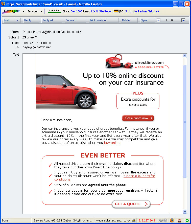Direct Line Insurance Offer Me Insurance On My Bmw Z3 Mr Daz