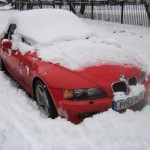 BMW Z3 stuck in snow in Manchester